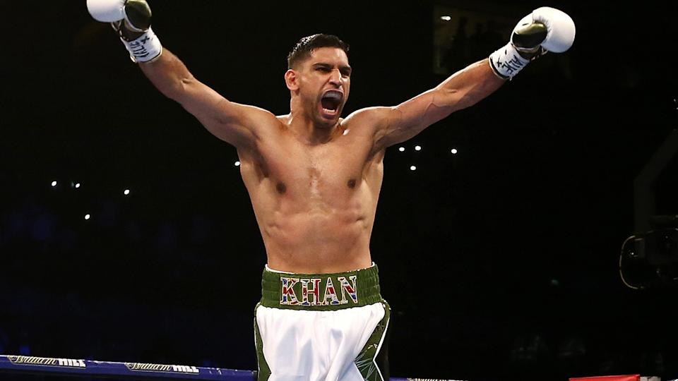 Amir Khan, pictured here after beating Phil Lo Greco in 2018.