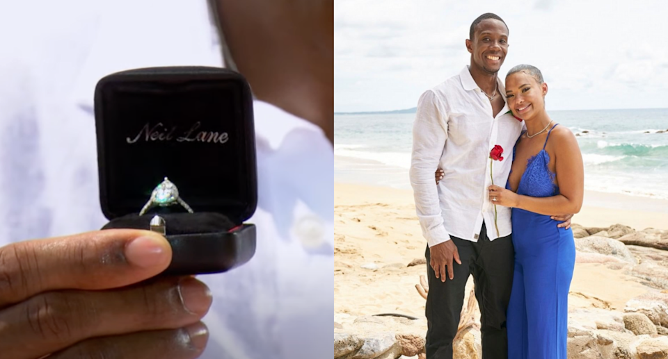 Maurissa Gunn and Riley Christian were the second BiP couple of the episode to get engaged (Photos via Bachelor Nation/YouTube & bachelorinparadise/Instagram)