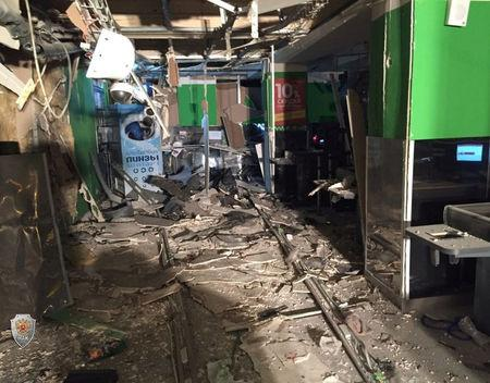 An interior view of a supermarket is seen after an explosion in St Petersburg in this photo released by Russia's National Anti-Terrorism Committe