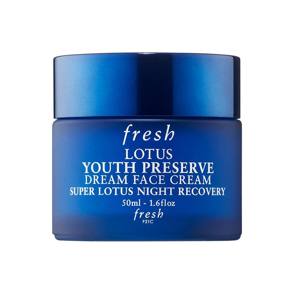 """<p>If you're looking for a product that will genuinely make you look forward to your nighttime routine, Fresh's Youth Preserve Dream Face Cream is that product. As our associate beauty director Sarah Kinonen <a href=""""https://www.allure.com/gallery/best-new-skin-launches-january-2019?mbid=synd_yahoo_rss"""" rel=""""nofollow noopener"""" target=""""_blank"""" data-ylk=""""slk:pointed out when it launched"""" class=""""link rapid-noclick-resp"""">pointed out when it launched</a>, it smells like fresh peaches and has a decadent, whipped texture that feels like a (wait for it), dream.</p> <p><strong>$48</strong> (<a href=""""https://shop-links.co/1668095066710346084"""" rel=""""nofollow noopener"""" target=""""_blank"""" data-ylk=""""slk:Shop Now"""" class=""""link rapid-noclick-resp"""">Shop Now</a>)</p>"""