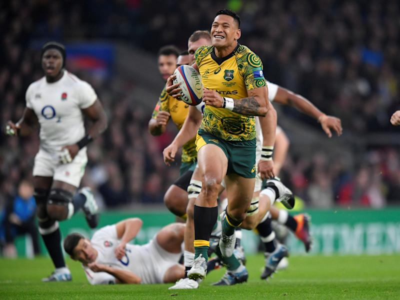 Rugby Union - England v Australia - Twickenham Stadium, London, Britain - November 24, 2018 Australia's Israel Folau runs in to score their first try REUTERS/Toby Melville