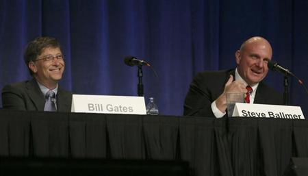 Microsoft Chairman Bill Gates and CEO Steve Ballmer take questions from shareholders during the Microsoft annual shareholders meeting in Bellevue