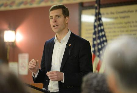 FILE PHOTO: Conor Lamb delivers a speech at his campaign rally in Houston, Pennsylvania, U.S. January 13, 2018.  REUTERS/Alan Freed/File Photo