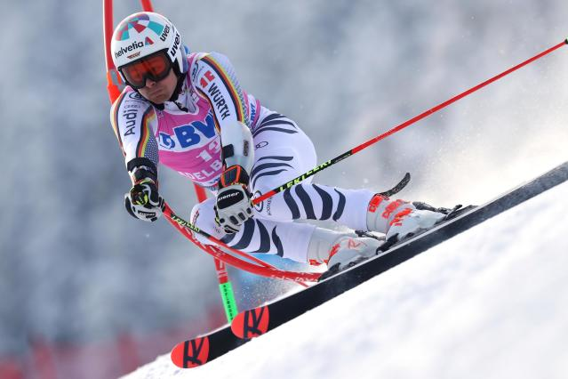 Germany's Stefan Luitz competes during a ski World Cup men's Giant Slalom in Adelboden, Switzerland, Saturday, Jan.12, 2019. (AP Photo/Shinichiro Tanaka)