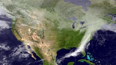 The United States is seen in a composite image taken from the NOAA GOES satellite
