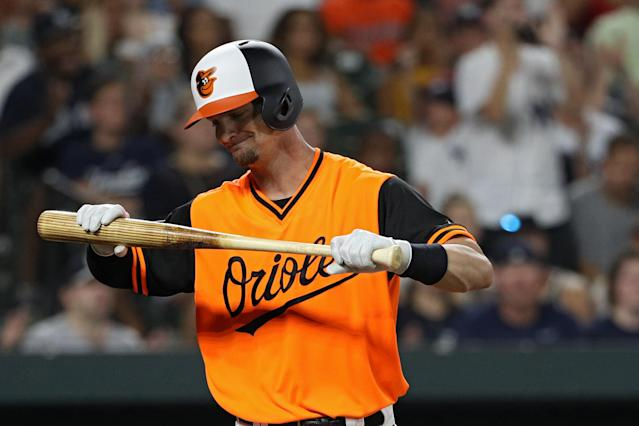 Caleb Joseph reacts after striking out against the New York Yankees during the sixth inning at Oriole Park at Camden Yards on Aug. 26, 2018 in Baltimore, Maryland. (Getty Images)