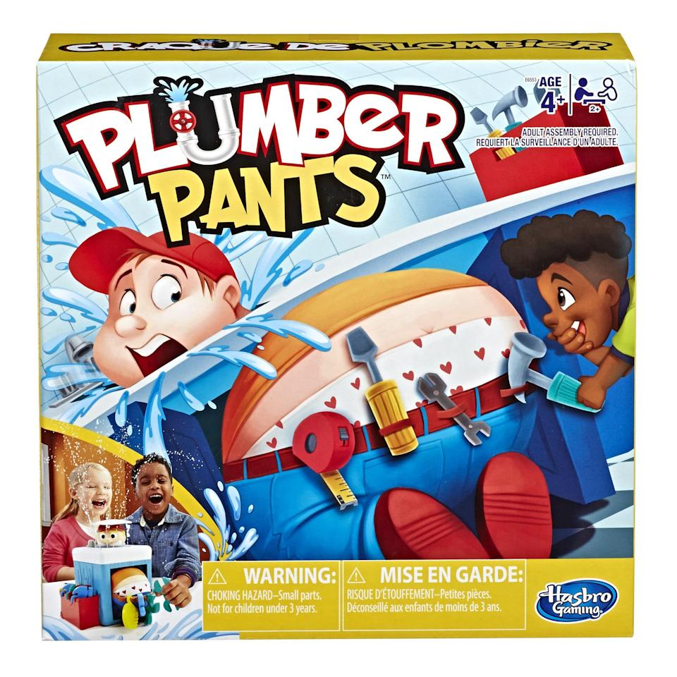 <p>Children 4 and up will love duking it out playing the hilarious <span>Plumber Pants Game</span> ($20). While playing, little ones take turns raiding his tool belt. But watch! If you get too close you might get squirted with a little water!</p>