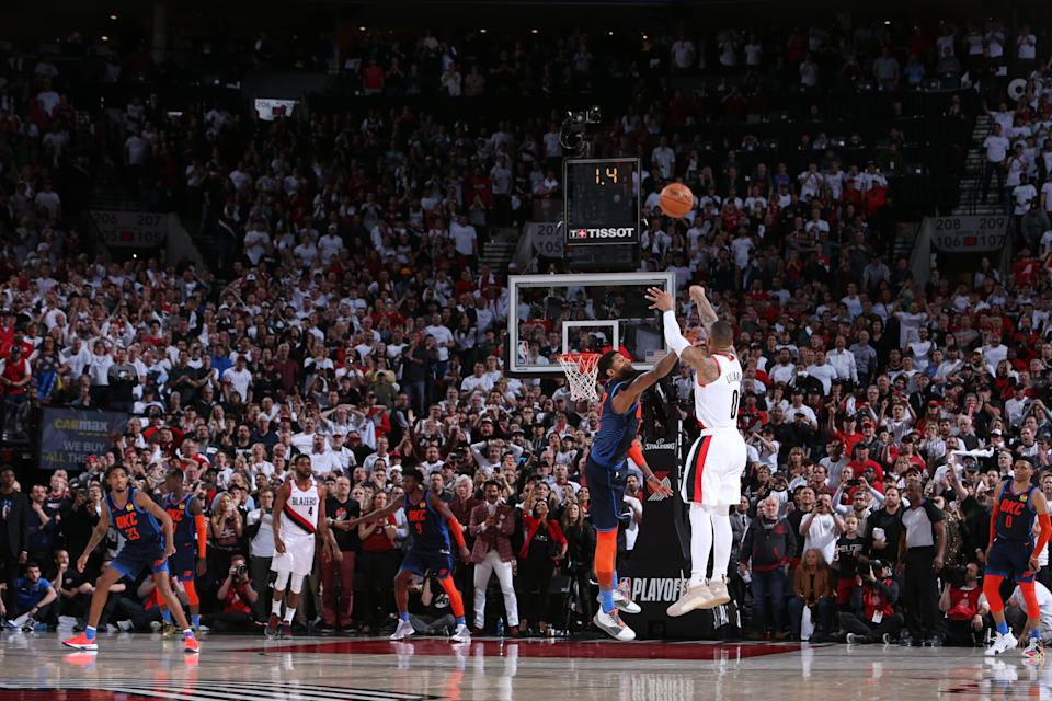 PORTLAND, OR - APRIL 23: Damian Lillard #0 of the Portland Trail Blazers shoots the three-point shot to win the game against the Oklahoma City Thunder during Game Five of Round One of the 2019 NBA Playoffs on April 23, 2019 at the Moda Center in Portland, Oregon. NOTE TO USER: User expressly acknowledges and agrees that, by downloading and or using this Photograph, user is consenting to the terms and conditions of the Getty Images License Agreement. Mandatory Copyright Notice: Copyright 2019 NBAE (Photo by Sam Forencich/NBAE via Getty Images)