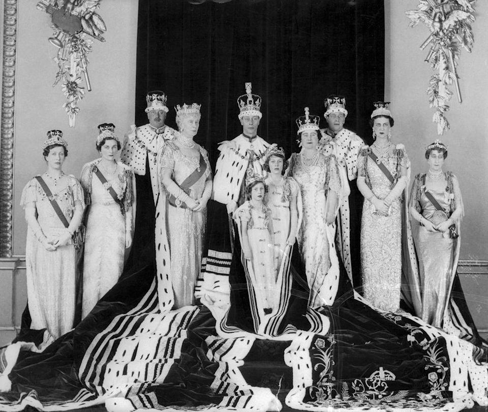 <p>The immediate royal family poses for an official portrait celebrating the coronation of King George VI, Elizabeth II's father. The picture was taken by Hay Wrightson at Buckingham Palace. </p><p>Back row, from left to right: Mary, the Princess Royal, the Duchess of Gloucester, the Duke of Gloucester, Queen Mary, King George VI, Queen Elizabeth, the Duke of Kent, the Duchess of Kent, and the Queen of Norway.</p><p>Front row: Princess Margaret and Princess Elizabeth (who would later become Queen Elizabeth II).</p>