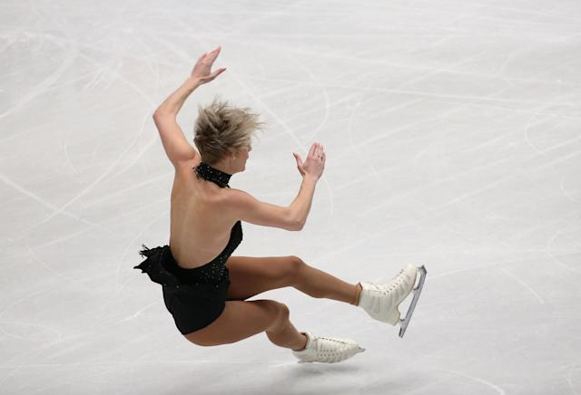 Figure Skating - World Figure Skating Championships - The Mediolanum Forum, Milan, Italy - March 21, 2018 Canada's Larkyn Austman falls during the Ladies Short Programme REUTERS/Alessandro Bianchi