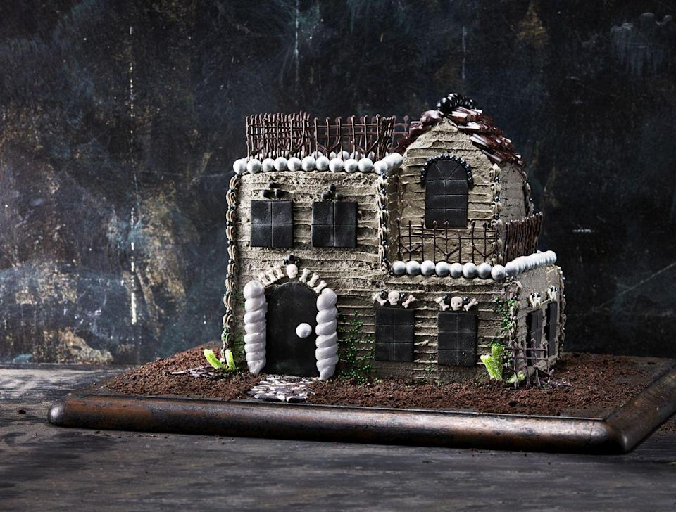"""<p>If you're in the market for a creative baking challenge, we've got you covered—and this one's two stories high. Build this eerie house with not one, but two cakes, then decorate it to your heart's content.</p><p><strong><a href=""""https://www.countryliving.com/food-drinks/a28943697/towering-haunted-house-cake/"""" rel=""""nofollow noopener"""" target=""""_blank"""" data-ylk=""""slk:Get the recipe"""" class=""""link rapid-noclick-resp"""">Get the recipe</a>.</strong> </p>"""
