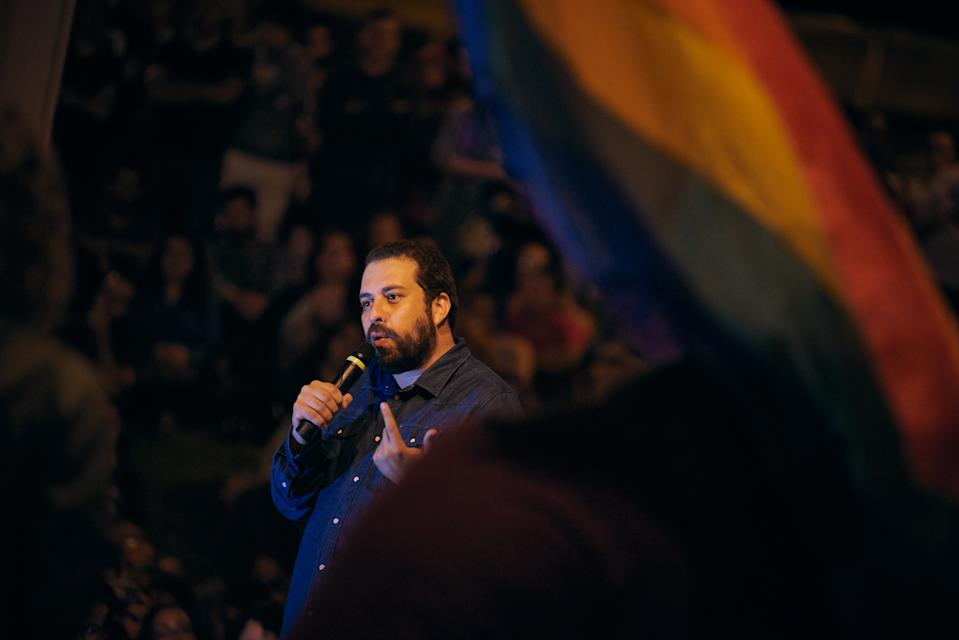Guilherme Boulos, a former candidate for the presidency of Brazil (PSOL) and an activist from the Landless Workers' Movement (MTST), speaks to students at the congregation of the State University of Sao Paulo (Unesp), in Franca, Sao Paulo, Brazil, on April 16, 2019. (Photo by Igor Do Vale/NurPhoto via Getty Images)