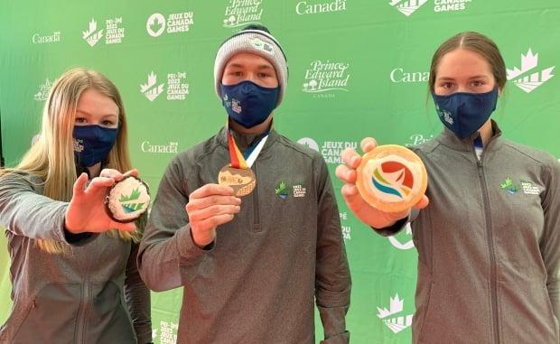 Young P.E.I. athletes Jamie Jenkins, left, Mikey Perry, centre, and Emily Thistle are excited for the 2023 Canada Games.