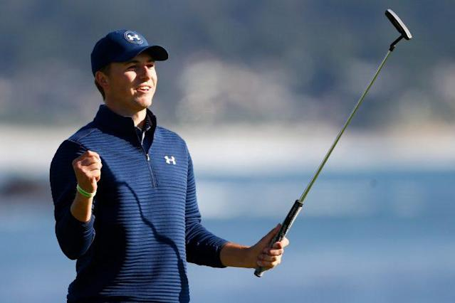 Jordan Spieth had a comfortable walk up No. 18 on Sunday. (Getty Images)