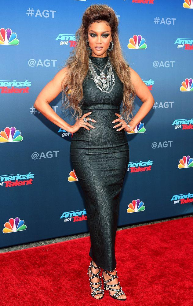 Tyra Banks at the red-carpet kickoff for season 13 of <em>America's Got Talent</em>