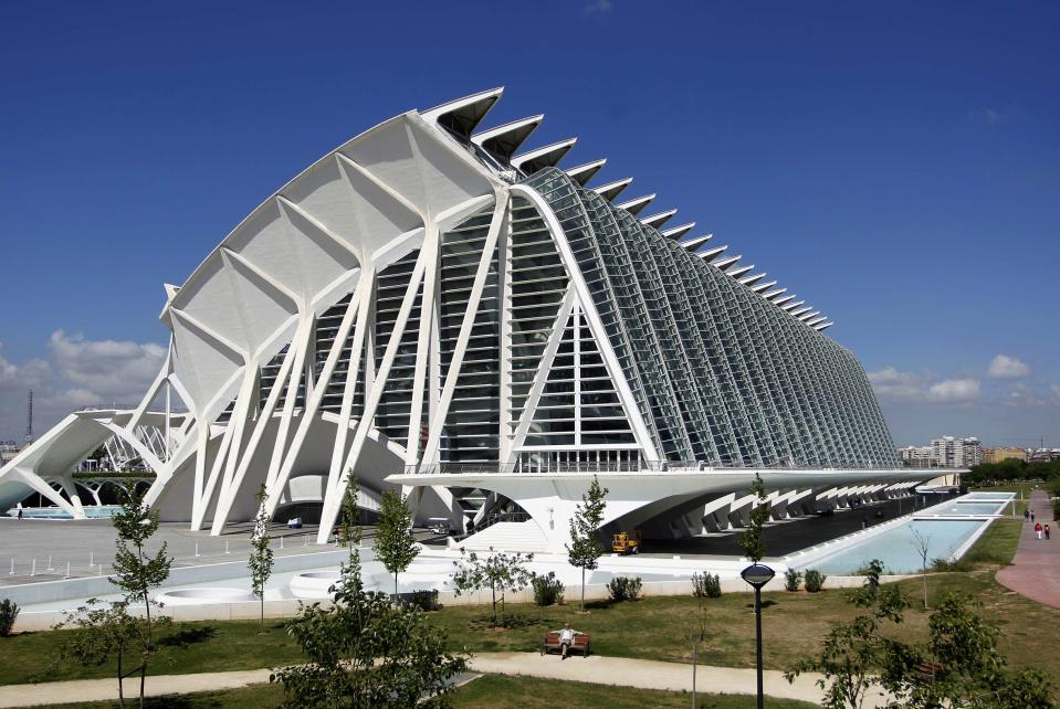A view of the City of Arts and Sciences, by architect Santiago Calatrava, is pictured in Valencia. The complex's cost escalated from an initial 625 million euros ($808.93m) up to 1280 million euros, according to local media. ( REUTERS/Heino Kalis)