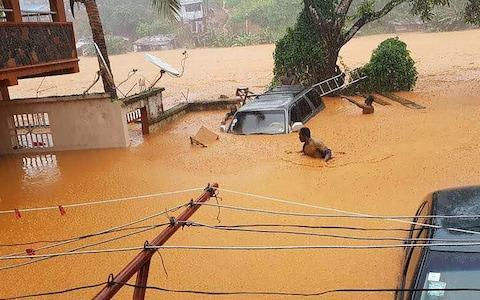 <span>Cars submerged in muddy water in streets in Regent</span> <span>Credit: Society for Climate Change Communication Sierra Leone/AFP </span>
