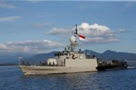 Indonesian Navy's KRI Singa-651 leaves the Tanjung Wangi port as the search continues for the missing KRI Nanggala-402 submarine