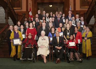 Every recipient of a 2019 Lieutenant Governor's Ontario Heritage Award with Lieutenant Governor Elizabeth Dowdeswell and Ontario Heritage Trust Chair Harvey McCue. Support for the awards provided by Canada Life. (CNW Group/Ontario Heritage Trust)