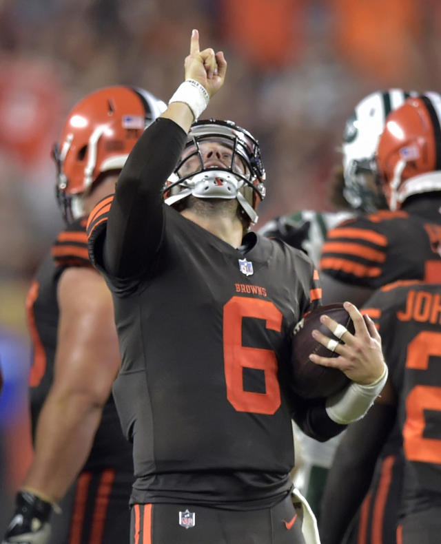 Cleveland Browns quarterback Baker Mayfield celebrates after the final play of an NFL football game against the New York Jets, Thursday, Sept. 20, 2018, in Cleveland. The Browns won 21-17. (AP Photo/David Richard)
