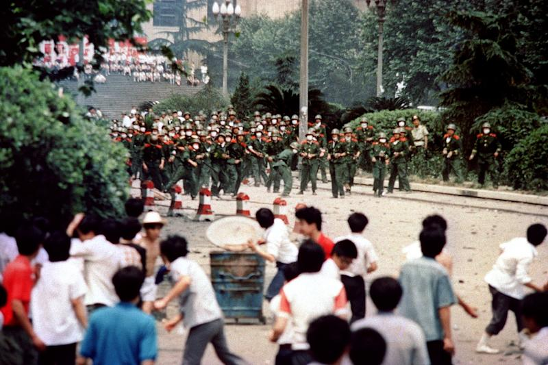 Protests took place in dozens of cities across China in 1989, including Chengdu, where on June 4 students and citizens hurled stones at troops after the proclamation of martial law in the city (AFP Photo/-)