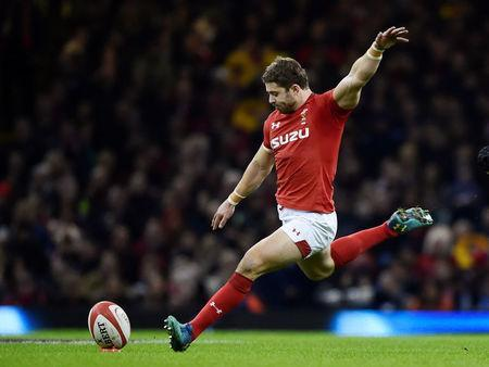 Rugby Union - Six Nations Championship - Wales vs Scotland - Principality Stadium, Cardiff, Britain - February 3, 2018 Wales' Leigh Halfpenny kicks a penalty REUTERS/Rebecca Naden