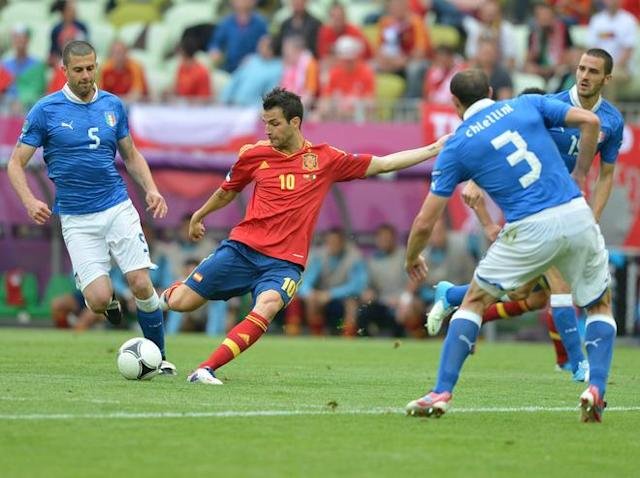Spanish midfielder Cesc Fabregas kicks the ball during the Euro 2012 championships football match Spain vs Italy on June 10, 2012 at the Gdansk Arena. AFP PHOTO / GABRIEL BOUYSGABRIEL BOUYS/AFP/GettyImages