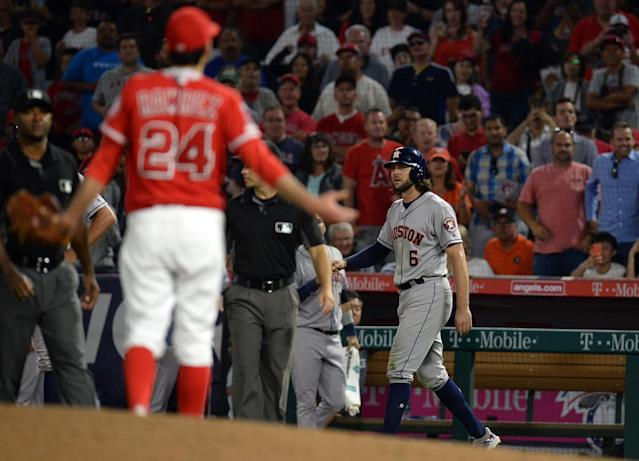 Los Angeles Angels relief pitcher Noe Ramirez (24) reacts toward the Houston Astros bench during the sixth inning after center fielder Jake Marisnick (6) was hit by pitch at Angel Stadium of Anaheim. (Gary A. Vasquez-USA TODAY Sports)