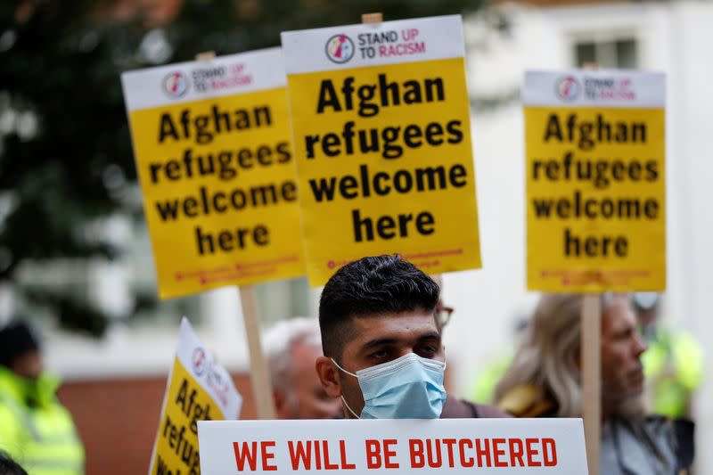 Protest in support of refugees from Afghanistan, in London