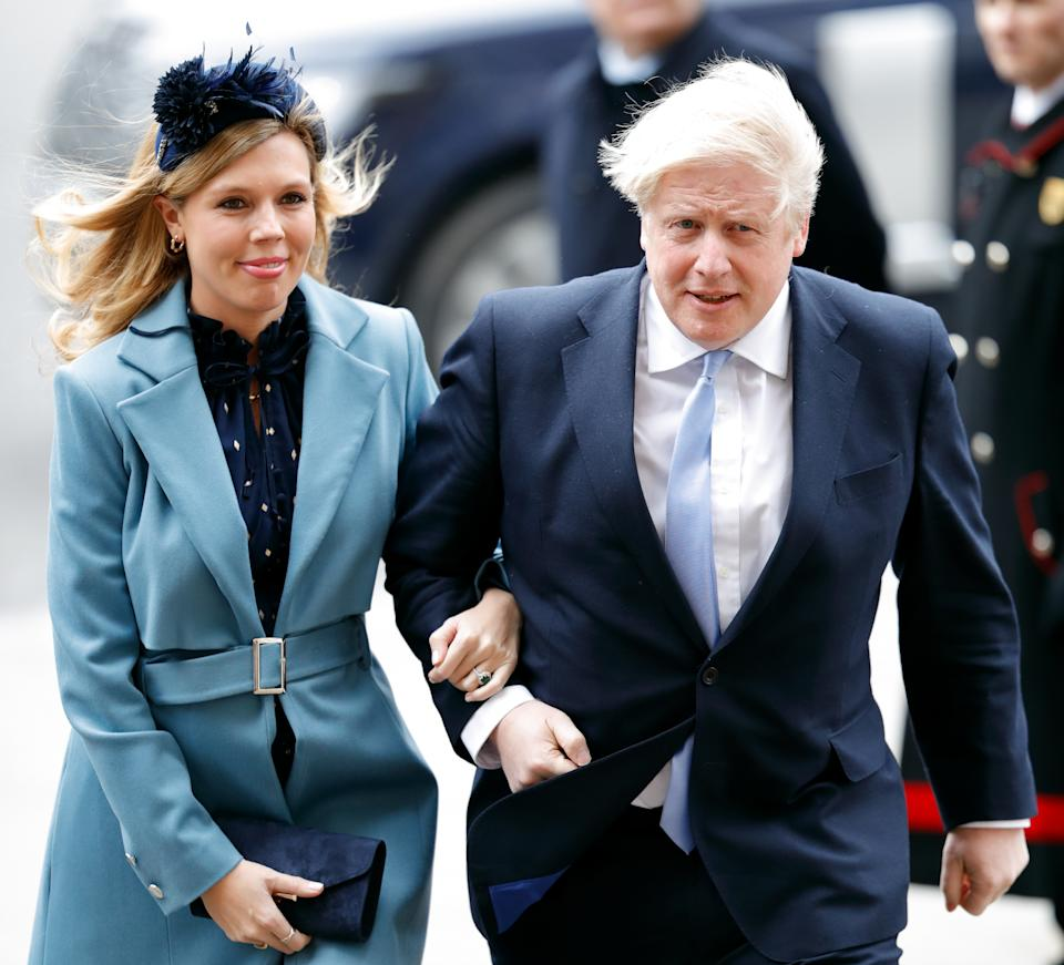 LONDON, UNITED KINGDOM - MARCH 09: (EMBARGOED FOR PUBLICATION IN UK NEWSPAPERS UNTIL 24 HOURS AFTER CREATE DATE AND TIME) Carrie Symonds and Prime Minister Boris Johnson attend the Commonwealth Day Service 2020 at Westminster Abbey on March 9, 2020 in London, England. The Commonwealth represents 2.4 billion people and 54 countries, working in collaboration towards shared economic, environmental, social and democratic goals. (Photo by Max Mumby/Indigo/Getty Images)