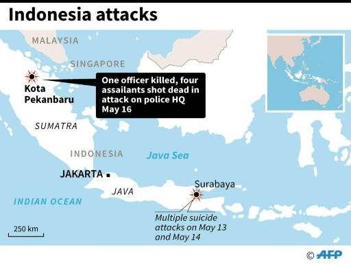Map locating Pekanbaru, Sumatra, site of an attack on police headquarters Wednesday