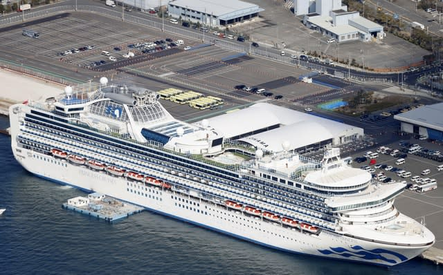 The quarantined Diamond Princess cruise ship is anchored at a port in Yokohama, near Tokyo