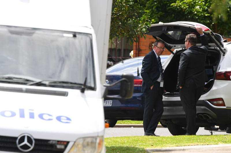 Police work at a crime scene in Tullamarine, Melbourne.