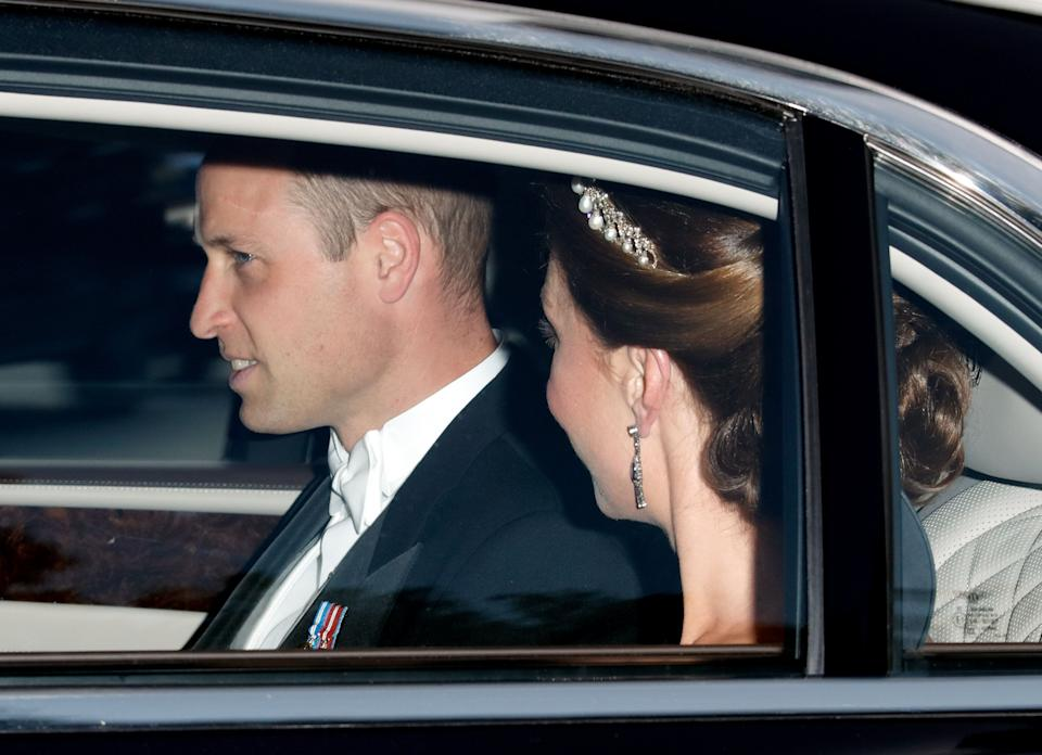 LONDON, UNITED KINGDOM - JUNE 03: (EMBARGOED FOR PUBLICATION IN UK NEWSPAPERS UNTIL 24 HOURS AFTER CREATE DATE AND TIME) Prince William, Duke of Cambridge and Catherine, Duchess of Cambridge depart Kensington Palace to attend a State Banquet at Buckingham Palace on day 1 of US President Donald Trump's State Visit to the UK on June 3, 2019 in London, England. President Trump's three-day state visit will include lunch with the Queen, and a State Banquet at Buckingham Palace, as well as business meetings with the Prime Minister and the Duke of York, before travelling to Portsmouth to mark the 75th anniversary of the D-Day landings. (Photo by Max Mumby/Indigo/Getty Images)