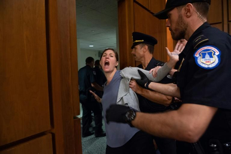 For a second straight day, protesters interrupted the Senate confirmation hearing of Judge Brett Kavanaugh to be an associate justice on the US Supreme Court