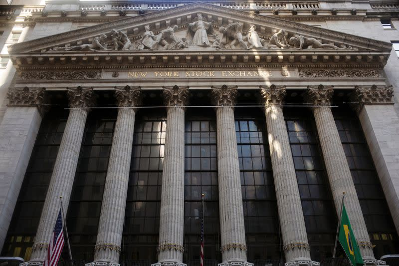The facade of the New York Stock Exchange is illuminated by the morning sun in New York