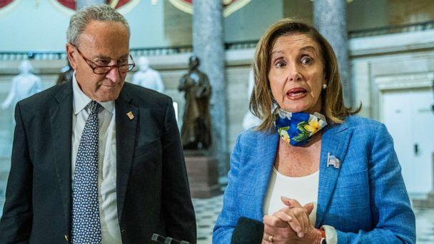 PHOTO: House Speaker Nancy Pelosi, with Senate Minority Leader Chuck Schumer, speaks to reporters following a meeting at the Capitol on a COVID-19 relief bill, Aug. 1, 2020, in Washington. (Manuel Balce Ceneta/AP)