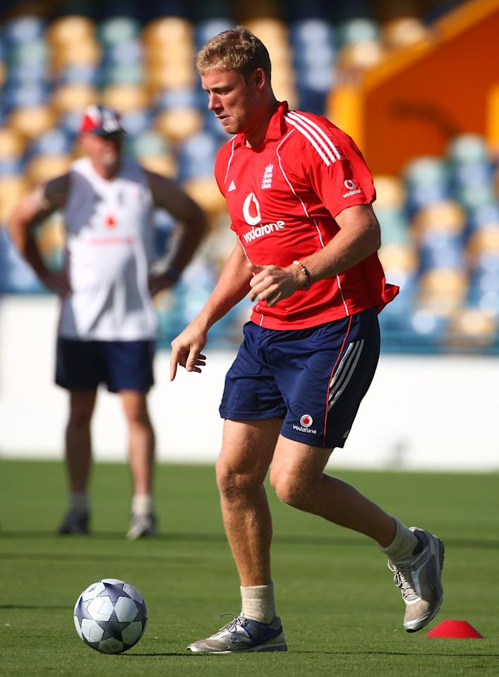 BRIDGETOWN, BARBADOS - MARCH 24:  England cricketer Andrew Flintoff plays football during a fitness training morning at The Kensington Oval on March 24, 2009 in Bridgetown, Barbados.  (Photo by Julian Herbert/Getty Images)