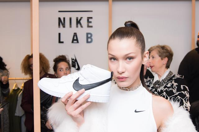 Bella Hadid, campaign model for Nike, attends the NikeLab opening inside Bergdorf Goodman's Men's Store in New York City. (Photo: Michael Ostuni/Patrick McMullan via Getty Images)