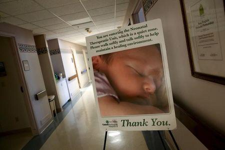 FILE PHOTO - A sign marks the entrance to the Neonatal Therapeutic Unit at Cabell Huntington Hospital in Huntington, West Virginia