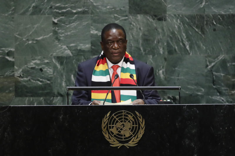 Zimbabwe's President Emmerson Dambudzo Mnangagwa addresses the 74th session of the United Nations General Assembly, Wednesday, Sept. 25, 2019, at the U.N. headquarters. (AP Photo/Frank Franklin II)