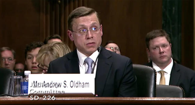 Andrew Oldham testifies before the U.S. Senate Judiciary Committee on April 25, 2018. (Video still: Committee on the Judiciary)