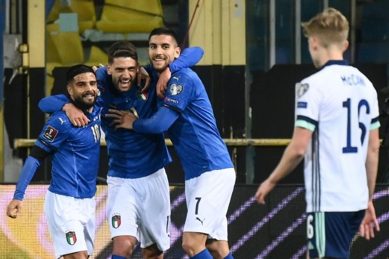 Italy's forward Domenico Berardi (2ndL) scored the opener in a win over Northern Ireland