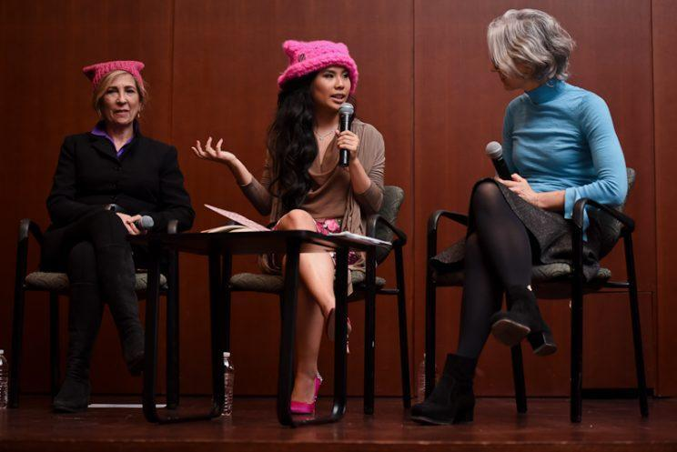 Krista Suh, center, spoke at Barnard Wednesday about her Pussyhat Project. Joining her on the panel were art history professors Joan Snitzer, left, and Anne Higonnet.