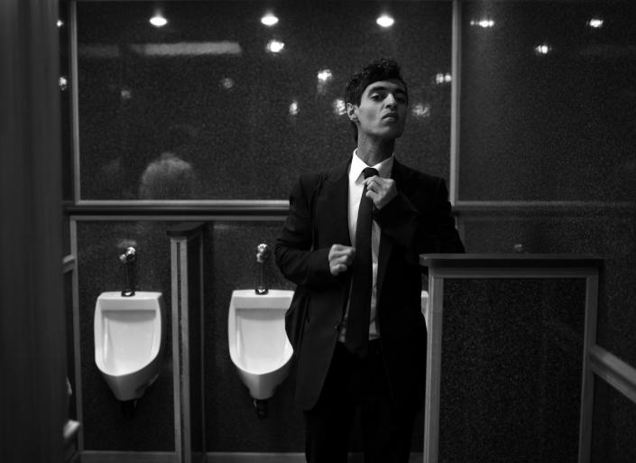 <p>Amrit Singh, Chief Political Correspondent of REVOLT TV, gets dressed in the public bathroom at the Democratic National Convention Tuesday, July 26, 2016, in Philadelphia, PA. (Photo: Khue Bui for Yahoo News) </p>