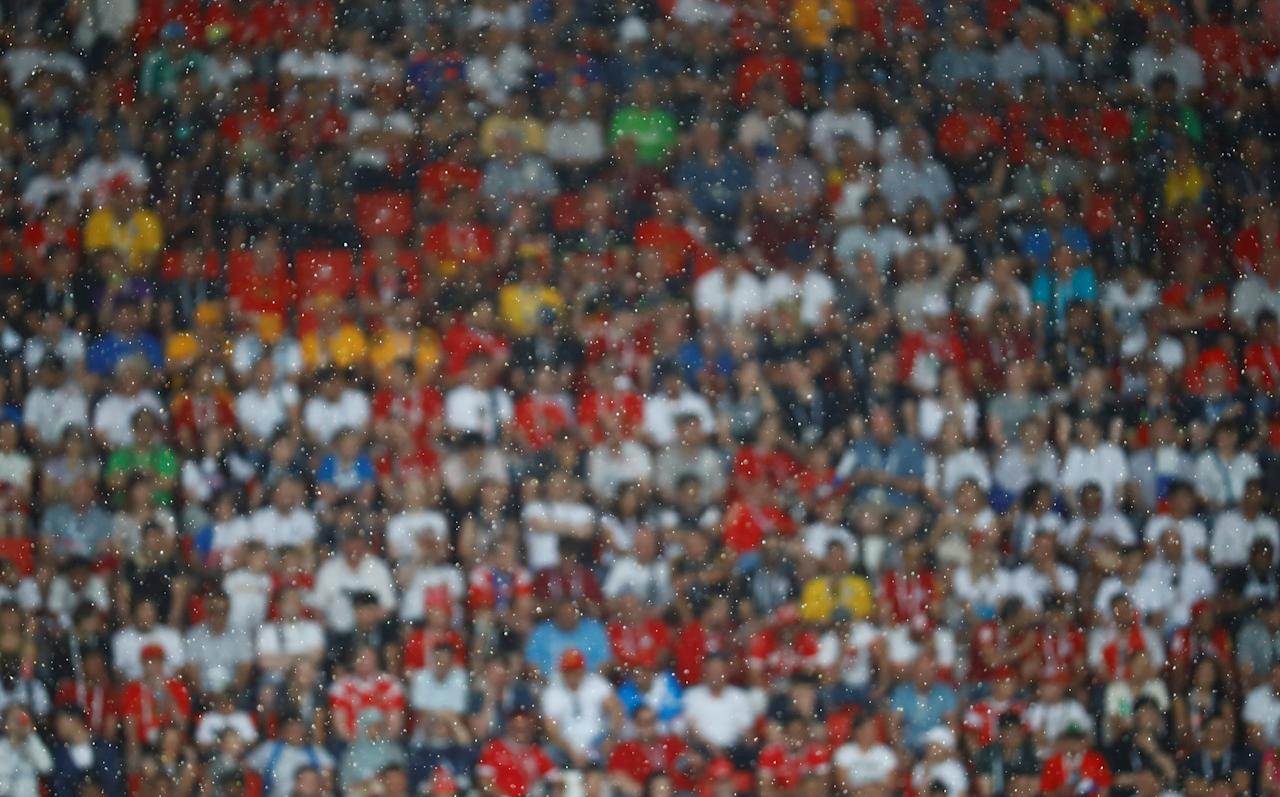 Soccer Football - World Cup - Group G - Belgium vs Tunisia - Spartak Stadium, Moscow, Russia - June 23, 2018   General view of rain during the match    REUTERS/Kai Pfaffenbach