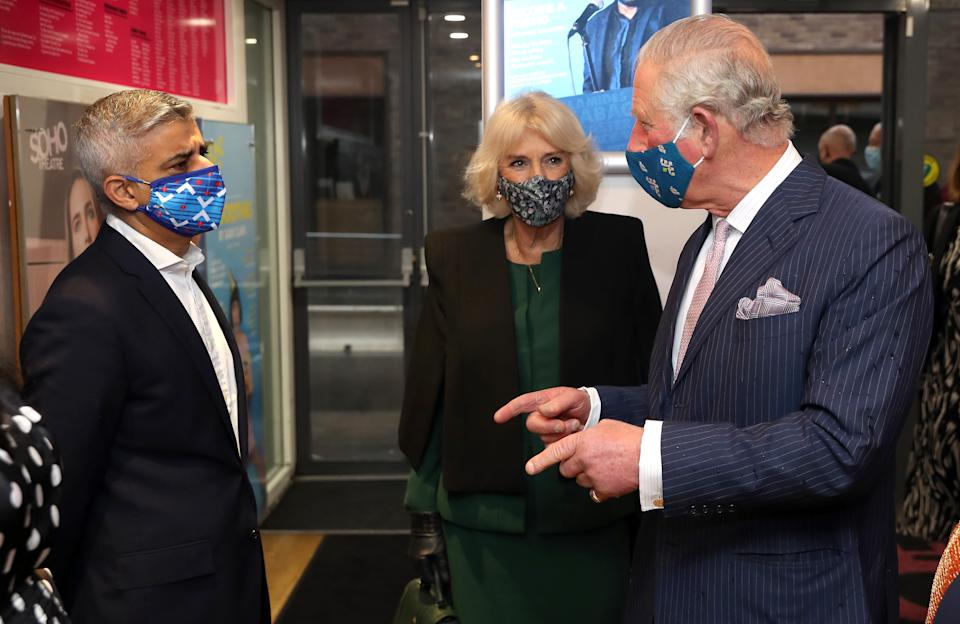 LONDON, ENGLAND - DECEMBER 03: Camilla, Duchess of Cornwall and Prince Charles, Prince of Wales wear face masks as they speak to Mayor of London Sadiq Khan (L) during their visit to Soho Theatre to celebrate London's night economy on December 03, 2020 in London, England. (Photo by Chris Jackson - WPA Pool/Getty Images)