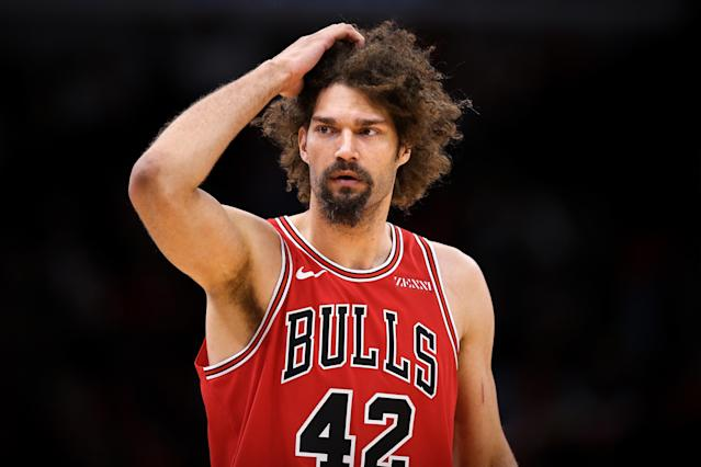 "<a class=""link rapid-noclick-resp"" href=""/nba/players/4477/"" data-ylk=""slk:Robin Lopez"">Robin Lopez</a> is in his third season with the <a class=""link rapid-noclick-resp"" href=""/nba/teams/chicago/"" data-ylk=""slk:Bulls"">Bulls</a>. (Getty)"