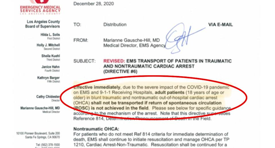 A letter states effective immediately those dying from cardiac arrest will not be transported to hospital if it's likely they won't survive.