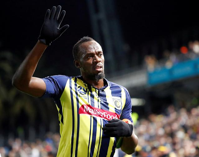 FILE PHOTO: Soccer Football - Central Coast Mariners v Central Coast Select - Central Coast Stadium, Gosford, Australia - August 31, 2018 Central Coast Mariners' Usain Bolt waves to fans after the match REUTERS/David Gray/File Photo